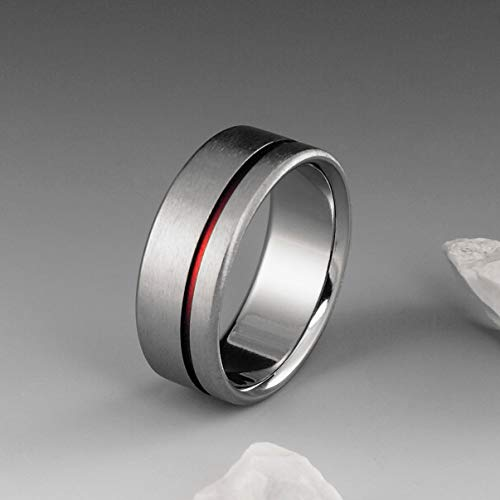 Red String of Fate Titanium Ring with Off Center Red Stripe, Mens or Womens Wedding Band, Simple Handmade Custom Ring
