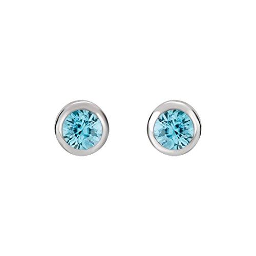 Bezel Ear Piercing Studs Earrings - Crystal Inverness Piercing Bezel Earrings (Aquamarine)