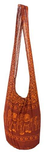 Lofbaz Women Messenger Bag Black Cotton Elephant # 2 Brown