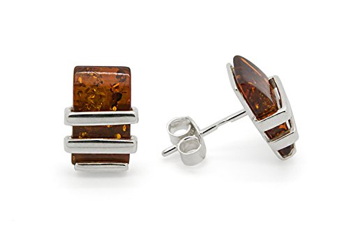 (925 Sterling Silver Rectangle Stud Earrings with Genuine Natural Baltic Cognac Amber.)