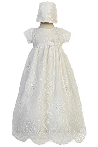 SWEA Pea & Lilli Bonnie Girls Christening Baptism Embroidered Tulle Long Gown with Sequins Dress (3-6m)