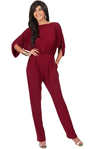 KOH KOH Petite Womens Short Sleeve Sexy Formal Cocktail Casual Cute Long Pants One Piece Fall Pockets Dressy Jumpsuit Romper Long Leg Pant Suit Suits Outfit Playsuit, Crimson Red S 4-6