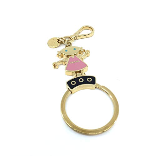 (Prada Trick Enameled Pink Dress Gold Toned Metal Keychain Girl)