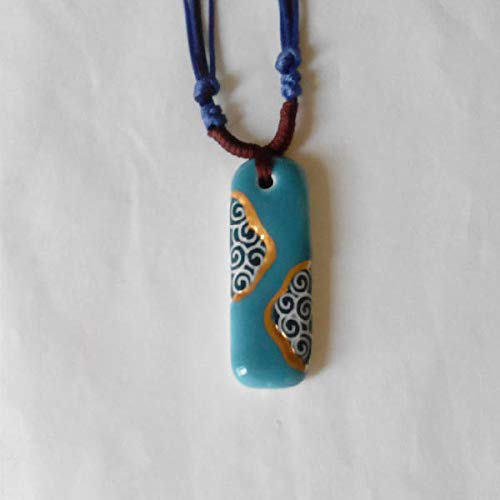 jingdezhen ceramic jewelry national wind original hand painted gilt moire long necklace pendant chain fashion lovers (blue - Hand Painted Gilt