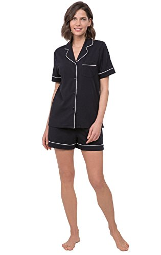PajamaGram Women's PJs Boyfriend Short Sleeve Pajama Short Set, Black, Small 4-6 (Black Sleeve Pajamas Short)