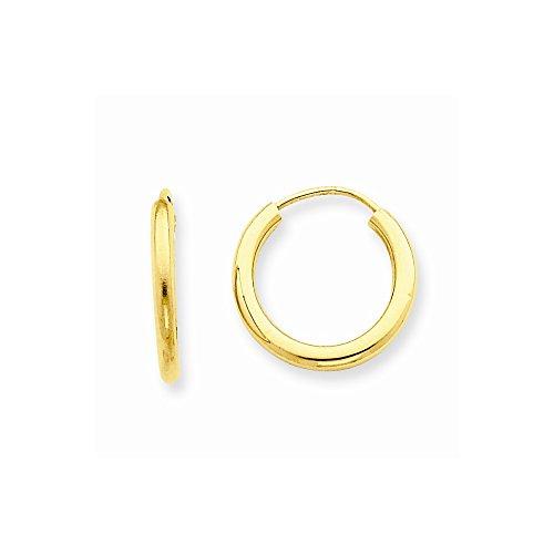 White Gold 2mm Round Hoop - 9