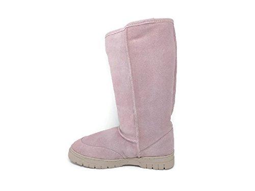 Women's Premium Suede Genuine Australian Shearling Sheepskin Boots Mid Calf Snow Booties (8)