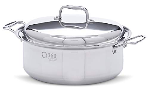 360 Stainless Steel Stock Pot with Lid, Handcrafted in the USA, Induction Cookware, Waterless Cookware, Dishwasher Safe, Oven Safe, Stainless Steel Cookware, Dutch Oven, Stockpot (6 Quart)