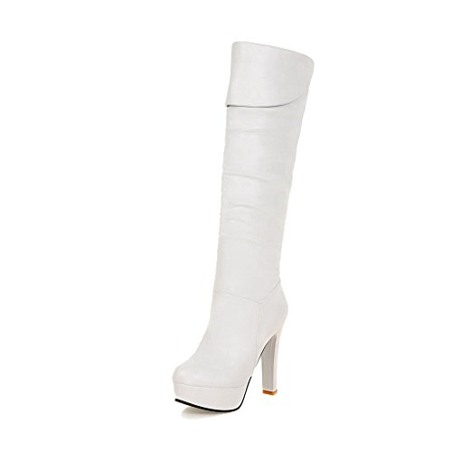 AgooLar Damen Rein PU Hoher Absatz Rund Zehe Ziehen auf Stiefel, Weiß, 37