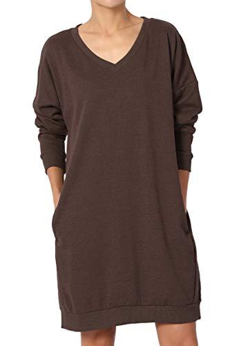 (TheMogan Women's Casual V-Neck Pocket Loose Sweatshirt Tunic Brown 2XL)