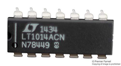 LT1014ACN#PBF - Operational Amplifier, Quad, 4 Amplifier, 800 kHz, 0.4 V/?s, 4V to 44V, DIP, 14 Pins (Pack of 2) (LT1014ACN#PBF)