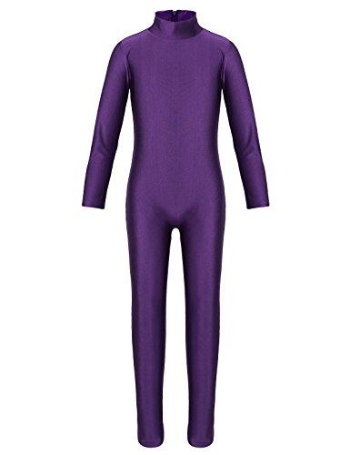 (iiniim Kids Boys Girls Long Sleeve Unitard Jumpsuit Spandex Full Body Suit Costumes Gymnastics Leotard Purple)