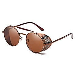 Steampunk Retro Round Sunglasses Metal Frame Men Women Black Red Brand Glasses Designer Fashion Male Female Shades 45472 C5 coffee tea