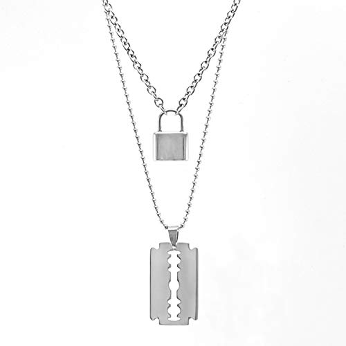 (Fantasy-lilac Stainless Steel Double Layer Padlock Necklace Lock Blade Cross Star Guitar Map Pendant Chain Necklaces)