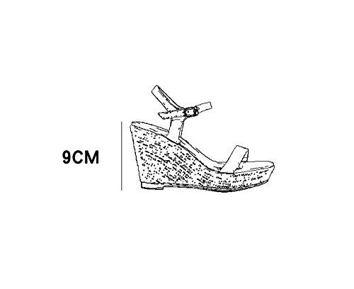 sandales avec de la forme des Nude rétro de hauts de 9cm Pente imperméable à taille talons plate paille d'été Nude ponçage 36 chaussures Couleur AqwX0xtv