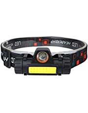 Laoonl Hoofdlamp, led-hoofdlamp, oplaadbaar, USB, krachtig, verstelbaar en licht, waterdicht voor hardlopen, kamperen, fietsen, wandelen