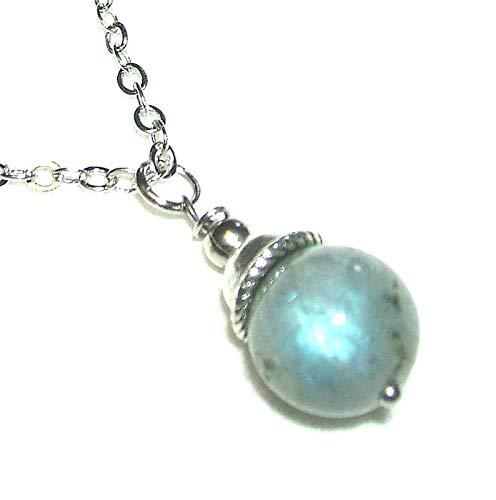 - LABRADORITE NECKLACE Silver Plt GENUINE SEMI PRECIOUS GEMSTONE Metaphysical STRENGTH INTUITION PERSEVERENCE