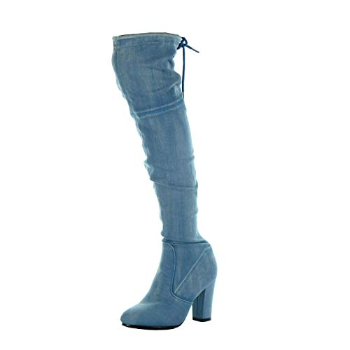 Shoes Block 5 Women's Boot high Denim Angkorly CM Thigh cavalier Blue Jeans soft 8 heel Fashion wOExzBS