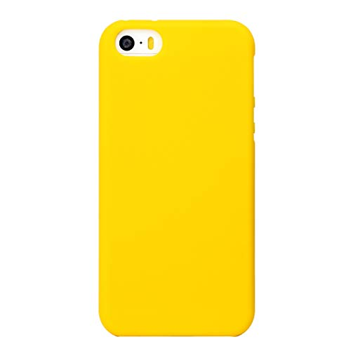 MUNDULEA Matte Case Compatible iPhone 5s/SE/5,Shockproof TPU Ptotective Cover Compatible iPhone SE 5S (Yellow)