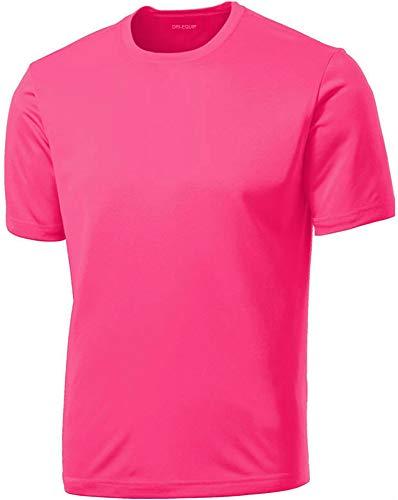 DRIEQUIP Men's Short Sleeve Moisture Wicking Athletic T-Shirt-NeonPink-L