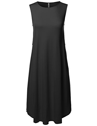 Made by Emma Casual Solid Viscose Sleeveless Round Neck Loose Fit Midi Dress Black S