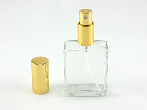 Skyway Refillable Travel Size 2 OZ Perfume Fragrance Bottle TSA Approved Pump Atomizer Spray Perfect for Purse and Traveling - Glass with Gold Accents ()