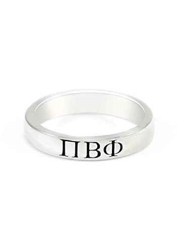 Pi Beta Phi Sterling Silver Ring with Black Enamel