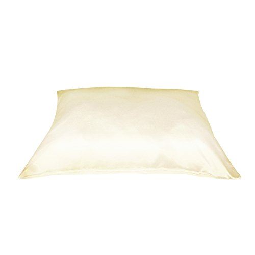 Betty Dain Satin Pillowcase with Zipper, Standard / Queen Size, Beige (Set of 2)