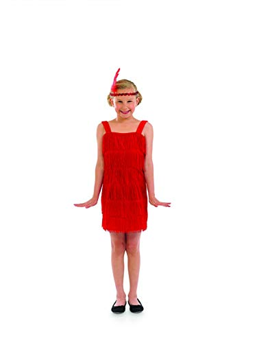 Girls 20s Flapper Girl Dress Red Fringed Decades Costume - Medium