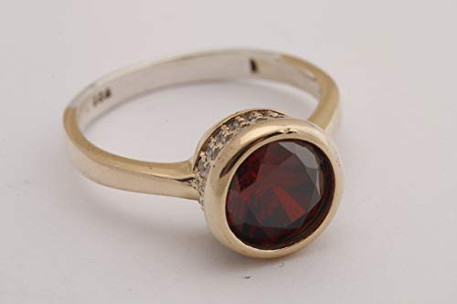Fashion Style! Turkish Handmade Jewelry Round Shape Ruby and Round Cut Topaz 925 Sterling Silver Ring Size All