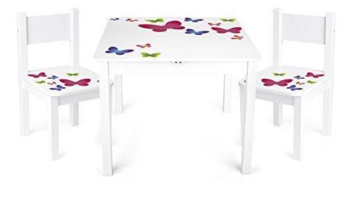 Table Et 2 Chaises Enfant Motif Papillons Chambre Meuble Mobilier Chaise DEnfant Baby Pour Enfants Petit Bureau Couleur Blanc Avec