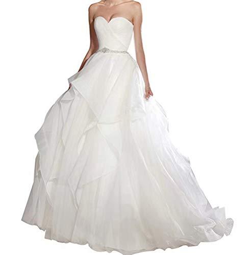 Women Strapless Sweetheart Multi Layer Ruffles Organza Puffy Wedding Dress Bridal Ball Gown for Bride