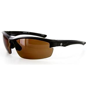 "Aloha Eyewear ""Creekside"" Wrap-Around Polarized Bifocal Reading Sunglasses (Black w/ Amber +1.50)"