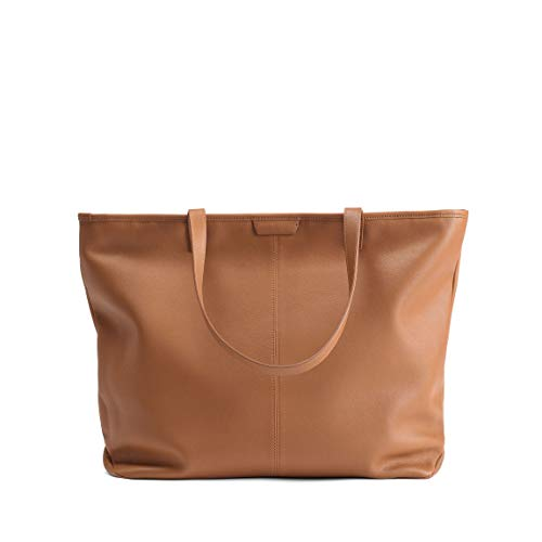 Large Zippered Downtown Tote - Full Grain Leather - Cognac ()