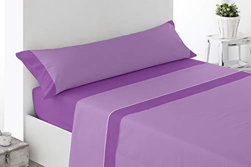 Cabetex Home - Juego de sabanas Lisas - Colores Combinados - 3 Piezas - Microfibra Transpirable (Malva/Lila, 180_x_190/200
