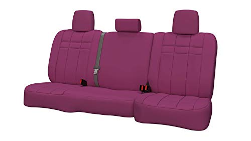 (Rear SEAT: ShearComfort Custom Neoprene-Style Seat Covers for Subaru Impreza Wagon and Hatchback (2012-2017) in Solid Pink for 40/60 Split Back Solid Bottom w/Pullout Arm and 3 Adjustable Headre.)