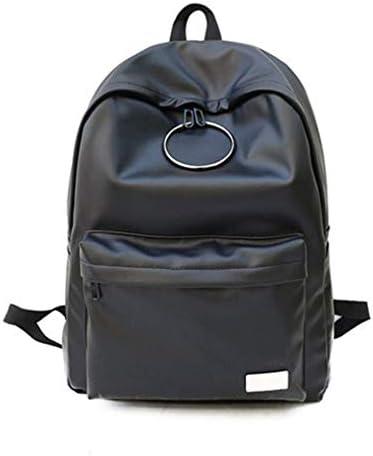 女子高生、韓国の学生バックパックキャンパス、PU大容量バックパック、黒、47 * 33 * 11 Cm 美しいファッション