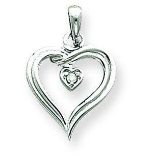 Or blanc 14 carats serti de diamants bruts pendentif en forme de cœur-Dimensions :  22 x JewelryWeb - 15 mm