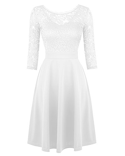 Mixfeer Women's Vintage Floral Lace Cocktail Swing Dress With 3/4 (White Cocktail)