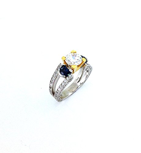 1.65 TCW Diamond & Blue Sapphire Semi-Mount Engagement Ring 14k & 21k Gold