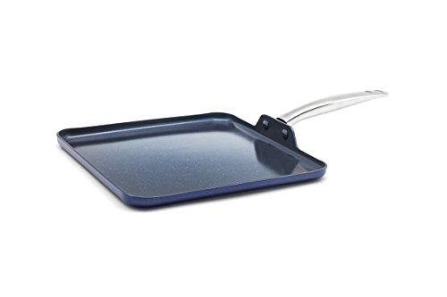 11' Square Griddle Pan - Blue Diamond CC001599-001 Toxin Free Ceramic Metal Utensil Dishwasher, 11'' Griddle,