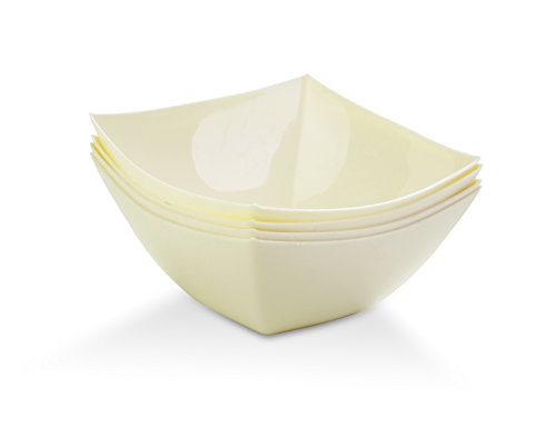 - Serving Bowls Square Hard Plastic Reusable For Party Snack/Salad Hard Plastic (16 OZ, IVORY)