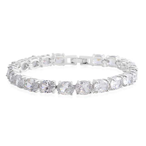 Shop LC Delivering Joy White Cubic Zirconia CZ Oval Link Tennis Bracelet for Women Anniversary Jewelry Gift 7.5