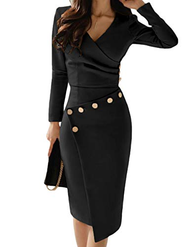Lrady Women's Deep V Neck Casual Work Bodycon Cocktail Party Pencil Midi Dress Black L