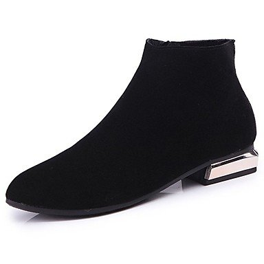 Winter Shoes Boots Casual US5 Boots 5 Toe Fashion Pu For Heel Fall Women'S RTRY Black UK3 Calf 5 Round CN35 Mid EU36 Boots Low nIa5q4Y
