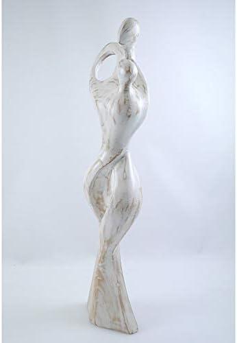 Artisanal Grande Statua Famiglia monoparentale h50/cm in Legno Esotico
