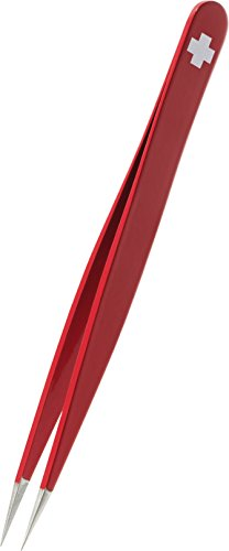 Rubis Switzerland Red Swiss Cross Point Tweezers - 1K001 (Stainless Point Rubis Steel)