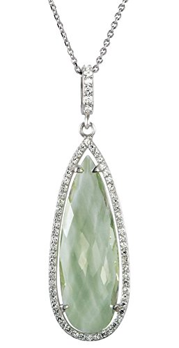 Green Quartz Checkerboard and Diamond Halo Pear-Shaped Sterling Silver Necklace, 18'' by The Men's Jewelry Store (for HER)