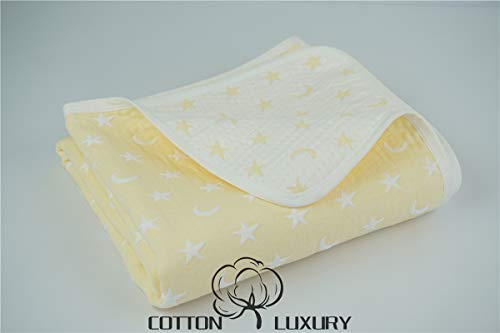 Muslin Baby Blankets 100% Cotton, Thick Triple Layers Woven, Moon and Star (Yellow)