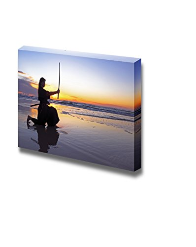 Wall26 Young Samurai Women with Japanese Sword Katana at Sunset on The Beach - Canvas Art Wall Decor - 12